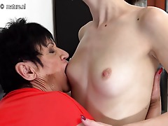 Insatiable old and young lesbians lick eachother wet