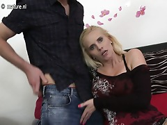 Hot blonde MILF fucking and sucking her backside off