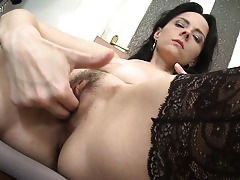 Hot housewife shows her skinny body and hairy pussy