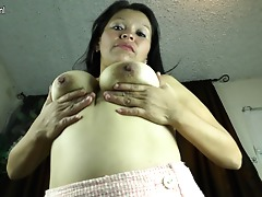 Horny Latin housewife playing with her pussy