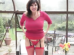 Super hot MILF shows gorgeous tits and moist pussy